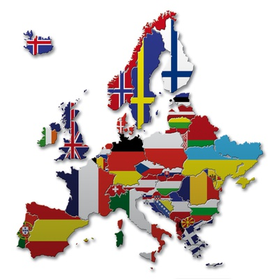 Europe map flags