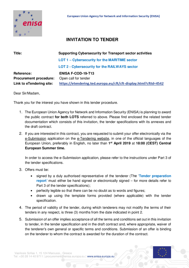 Invitation to Tender via eSubmission F-COD-19-T13 — ENISA