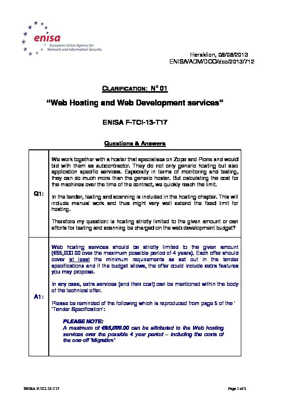 Clarification Note No 1 — ENISA